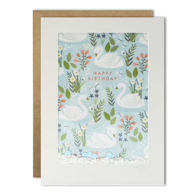 PH2992 - Swan Pattern Rectangular Shakies Card