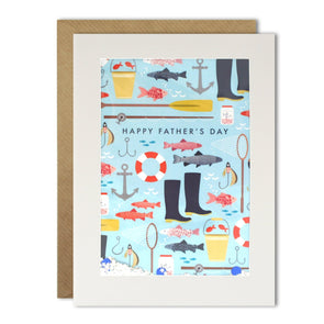 Dad Fishing Pattern Rectangular Shakies Card