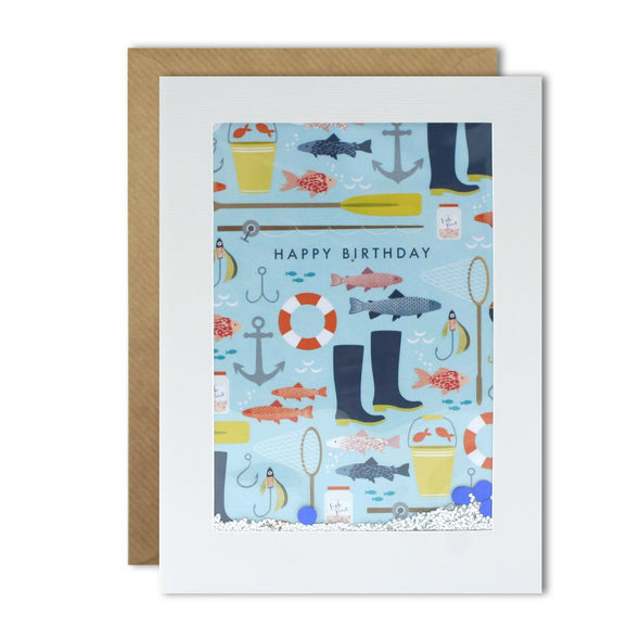 PH3055 - Fishing Pattern Rectangular Shakies Card