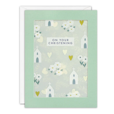 PL3523 - Christening Pattern Paper Shakies Card
