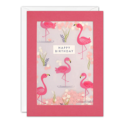 PL3524 - Flamingo Pattern Paper Shakies Card