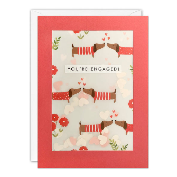PL3536 - Engagement Dachshunds Pattern Paper Shakies Card