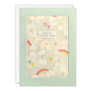 PL3537 - New Baby Rainbow Storks Pattern Paper Shakies Card