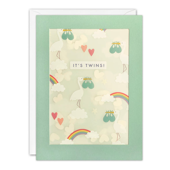 PL3538 - It's Twins Storks Pattern Paper Shakies Card