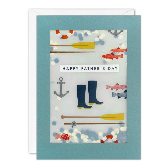 Fishing Father's Day Card with Paper Confetti - Paper Shakies by James Ellis