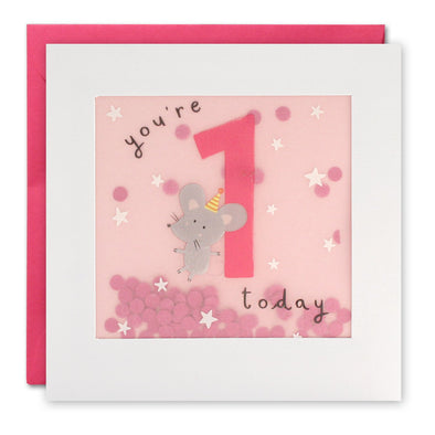 Age 1 Mouse Birthday Card with Paper Confetti - Paper Shakies by James Ellis