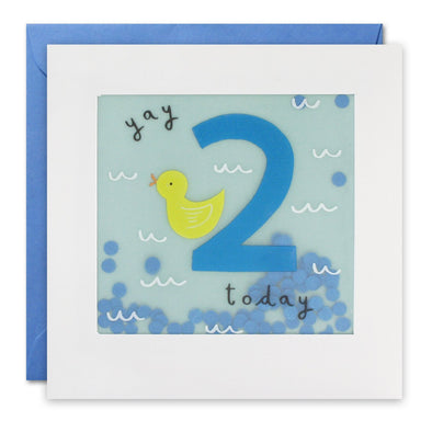 Age 2 Duck Birthday Card with Paper Confetti - Paper Shakies by James Ellis