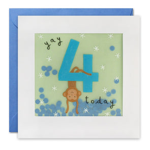 Age 4 Monkey Birthday Card with Paper Confetti - Paper Shakies by James Ellis