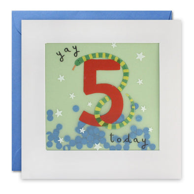 Age 5 Snake Birthday Card with Paper Confetti - Paper Shakies by James Ellis