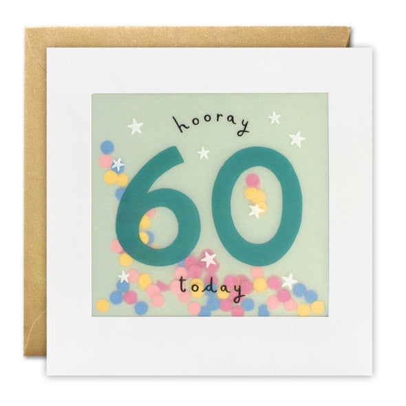 Age 60 Birthday Card with Colourful Paper Confetti - Paper Shakies by James Ellis
