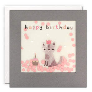 PP3329 - Happy Birthday Cat Grey Paper Shakies Card