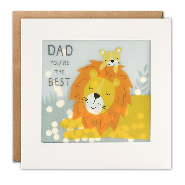 Best Dad Lion Paper Shakies Card