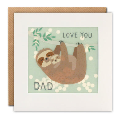 Love You Dad Sloth Paper Shakies Card