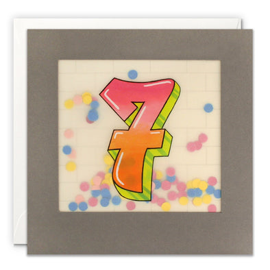 Age 7 Graffiti Birthday Card with Paper Confetti - Paper Shakies by James Ellis