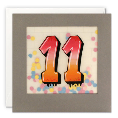 Age 11 Graffiti Birthday Card with Paper Confetti - Paper Shakies by James Ellis