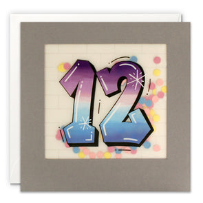 Age 12 Graffiti Birthday Card with Paper Confetti - Paper Shakies by James Ellis