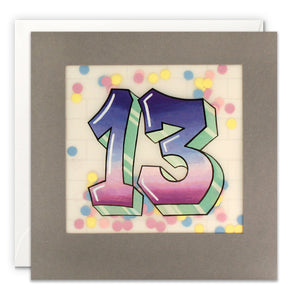 Age 13 Graffiti Birthday Card with Paper Confetti - Paper Shakies by James Ellis