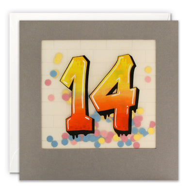 Age 14 Graffiti Birthday Card with Paper Confetti - Paper Shakies by James Ellis