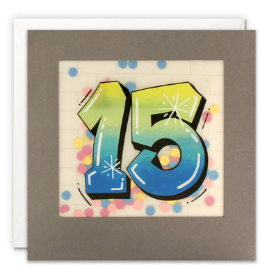 Age 15 Graffiti Birthday Card with Paper Confetti - Paper Shakies by James Ellis