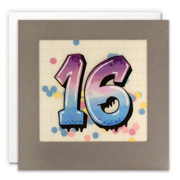 Age 16 Graffiti Birthday Card with Paper Confetti - Paper Shakies by James Ellis