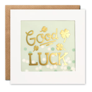 PP3516 - Good Luck Clovers Gold Paper Shakies Card