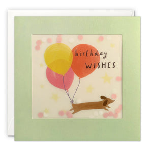 PP3543 - Dachshund and Balloons Paper Shakies Card