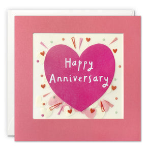 PP3547 - Pink Anniversary Heart Paper Shakies Card