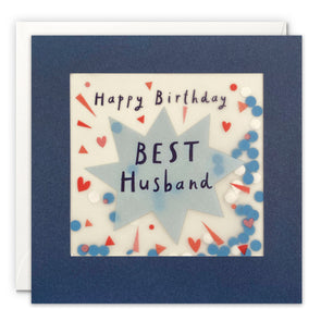 Husband Star Birthday Card with Paper Confetti - Paper Shakies by James Ellis
