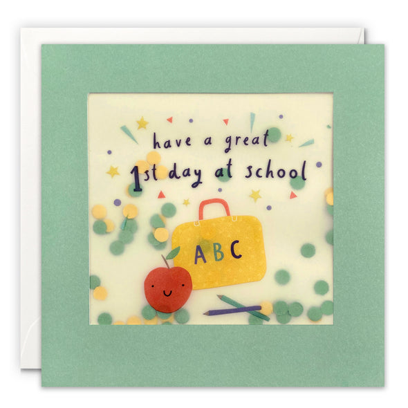 First Day at School Card with Paper Confetti - Paper Shakies by James Ellis