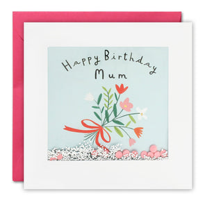 PT2879 - Mum Flowers Birthday Shakies Card