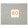 Typographic 80th Birthday Cloth Bound Photo Album With Box