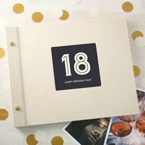 Typographic 18th Birthday Cloth Bound Photo Album With Box