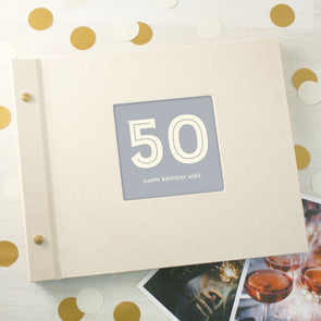 Typographic 50th Birthday Cloth Bound Photo Album With Box