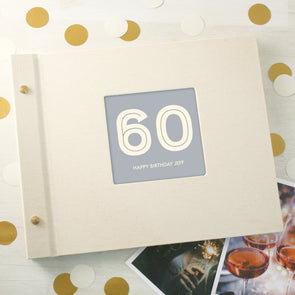 Typographic 60th Birthday Cloth Bound Photo Album With Box