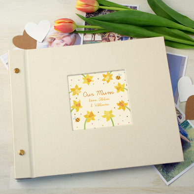 Personalised Mother's Day Cloth Bound Photo Album With Daffodil Design