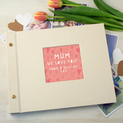 Personalised Mother's Day Cloth Bound Photo Album With Hearts Design
