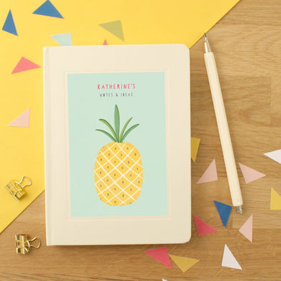 Personalised Pineapple Hardback Lined Notebook