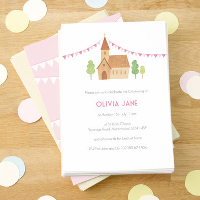 Personalised Pink Christening Invitations With Church Illustration