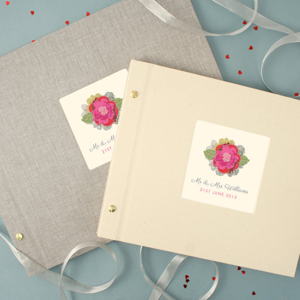 Personalised Wedding Cloth Bound Photo Album With Pink Flower
