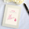 Personalised Pink New Baby Hardback Lined Notebook Stork Design
