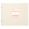 Personalised Silver Leaf Christening Photo Album with Pink Text