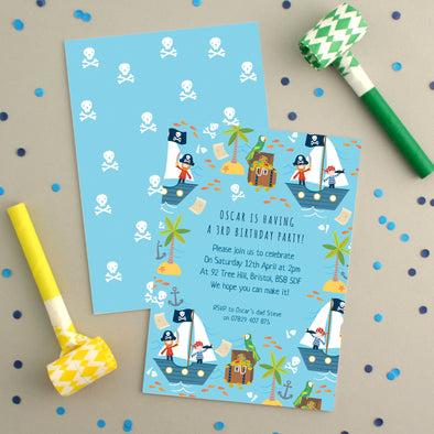 Personalised Pirate Pattern Birthday Invitations