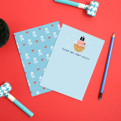 Personalised Pirate Children's Thank You Cards