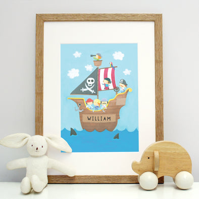 Personalised pirate print with Childs name