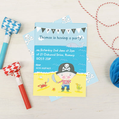 Pirate party children's invitations with personalised text