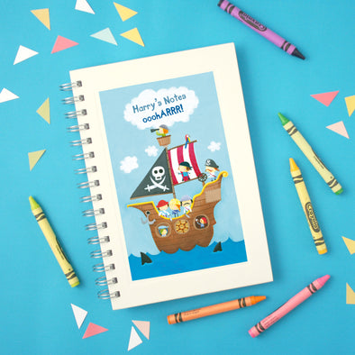 Personalised Pirate Wire Bound Children's Notebook
