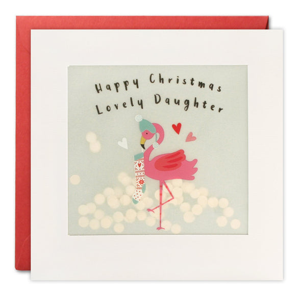 Daughter Flamingo Christmas Card with Paper Confetti - Paper Shakies by James Ellis