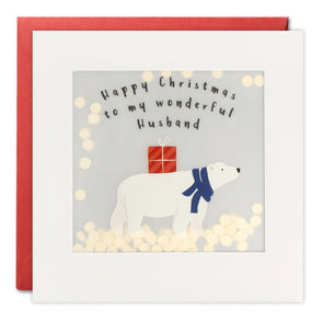 RPP3455 - Husband Polar Bear Christmas Paper Shakies Card