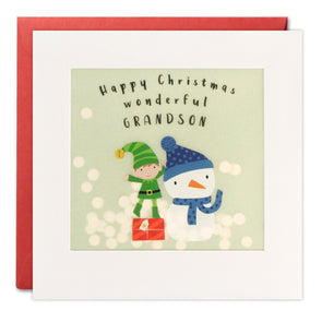 RPP3457 - Grandson Elf Christmas Paper Shakies Card