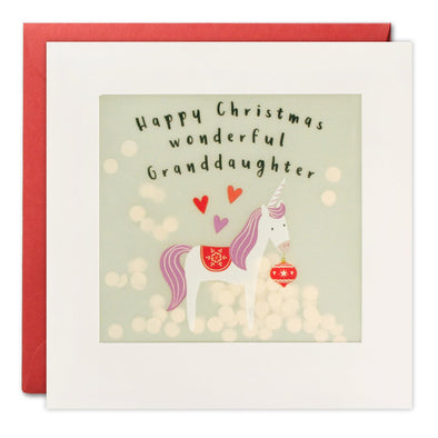 RPP3458 - Granddaughter Unicorn Christmas Paper Shakies Card